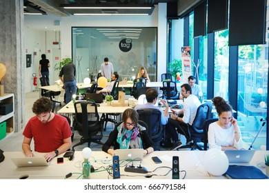 Turin, Italy - June 20, 2017: a physical coworking space for digital ecosystem to meet, work, learn and collaborate.