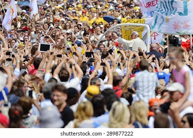 TURIN, ITALY - JUNE 21, 2015: Holy Father Pope Francesco Bergoglio visit Turin for the holy Shroud exhibition and the city cheers him with a joyful crowd in Vittorio Place.