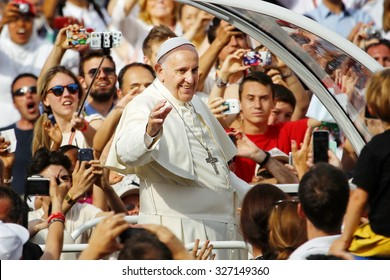 Turin, Italy - June 21, 2015 : Francis Pope greets pilgrims in the streets of the city