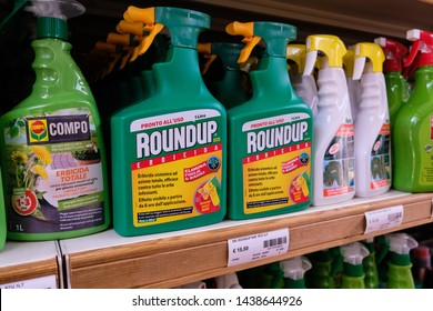 Turin, Italy - June 22 2019: Roundup is the trade name for Glyphosate (broad-spectrum systemic herbicide and crop desiccant). It is used in agriculture to kill weeds and grasses that compete with crop