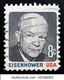 TURIN, ITALY - JUNE 25, 2016: A stamp printed in USA showing the portrait of USA President Dwight Eisenhower, circa 1971