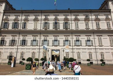 Turin, Italy, June 27, 2019: The Royal Palace of Turin or Palazzo Reale di Torino is a historic palace in Turin city, Italy