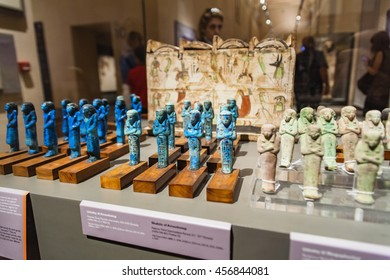 TURIN, ITALY - JUNE 3, 2015: Detail from Museo Egizio in Turin, Italy. Mueum houses one of the largest collections of Egyptian antiquities with more than 30,000 artefacts.