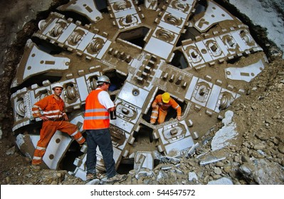 Turin, Italy - June 4, 2010: Tunnel boring machine at construction site of metro