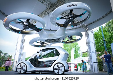 Turin, Italy - June 7, 2018: Turin Auto Show, the Audi Pop.up next car with the Airbus drone