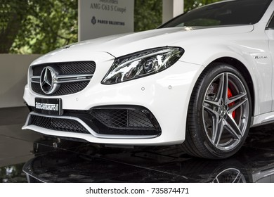 TURIN, ITALY - JUNE 9, 2016? A white Mercedes AMG C63 S Coupè on display at Turin open air car show