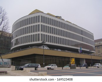 TURIN, ITALY - MARCH 01, 2007: The Turin Commerce Chamber building was designed by famous Italian architect Carlo Mollino