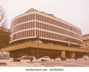 TURIN, ITALY - MARCH 01, 2007: The Turin Commerce Chamber building was designed by famous Italian architect Carlo Mollino vintage