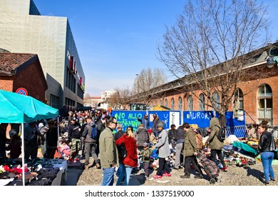 Turin, Italy - March 09, 2019: The Balon is Turin's historic flea market in the Aurora district, precisely in the Borgo Dora and near the Porta Palazzo market, held every Saturday.