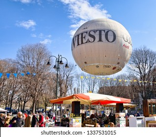 Turin, Italy - March 09, 2019: Hot air balloon anchored with a steel cable in the Balon market, which carries out tourist flights offering a vast panorama of the city