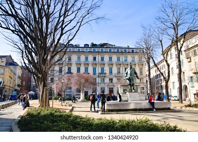 Turin, Italy - March 09, 2019: March 4th Square, in the central old town of Turin, in the district of the ancient Roman Quadrilateral