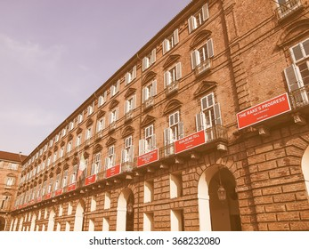 TURIN, ITALY - MARCH 11, 2014: The Teatro Regio (Royal Theatre) was almost completely destroyed by fire except for this facade and redesigned by architect Carlo Mollino vintage
