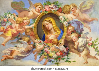 TURIN, ITALY - MARCH 13, 2017: The fresco of Virgin Mary among the angels in Cattedrale di San Giovanni Battista and chapel of St. Massimo and Antonio abate by unknown artist 19. cent.