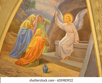 TURIN, ITALY - MARCH 13, 2017: The fresco Women Visit the Empty Tomb in Church Chiesa di Santo Tommaso by C. Secchi from bechin of 20. cent.
