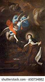 TURIN, ITALY - MARCH 13, 2017: The painting of Trasverberazione (mystical experience) di Santa Teresa d'Avila (1640) in church Chiesa di Santa Teresa by Guglielmo Caccia (Moncalvo).