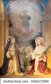 TURIN, ITALY - MARCH 14, 2017: The painting of St. Lucia and st. Rose of Lima in church Chiesa di San Domenico by Enrico Reffo (1910).