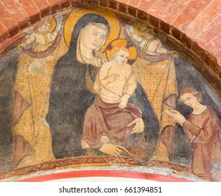 TURIN, ITALY - MARCH 14, 2017: The fresco of Annunciation in church Chiesa di San Domenico by unknown artist of 15. cent.
