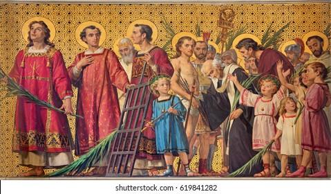 TURIN, ITALY - MARCH 15, 2017: The symbolic fresco of holy martyrs in church Chiesa di San Dalmazzo by Enrico Reffo (1831-1917).