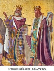 TURIN, ITALY - MARCH 15, 2017: The  fresco of of king David and Salomon in church Chiesa di San Dalmazzo by Enrico Reffo (1831-1917).