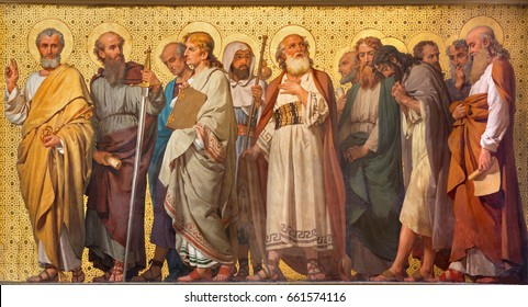 TURIN, ITALY - MARCH 15, 2017: The symbolic fresco of Twelve apostles  in church Chiesa di San Dalmazzo by Enrico Reffo (1914).