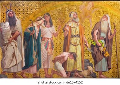TURIN, ITALY - MARCH 15, 2017: The symbolic fresco of patriarchs Moses, Joseph, Jacob, Abraham and Joshua in church Chiesa di San Dalmazzo by Enrico Reffo and Luigi Guglielmino (1916).