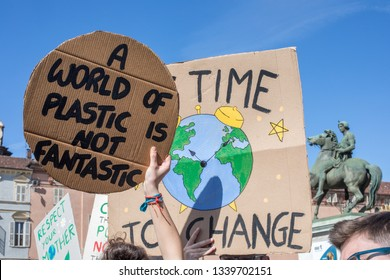 Turin, Italy - March 15 2019: Thousands of students happily marched through Turin during the FridaysForFuture event created by Swedish sixteen Greta Thunberg.