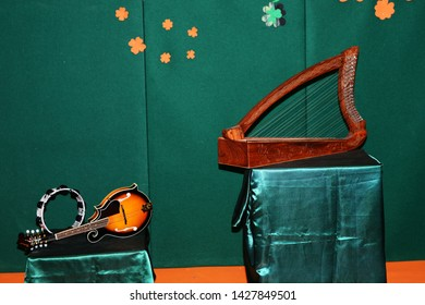 Turin, Italy - March 17 Celtic musical instruments, Stringed musical instruments, harp, la zither, irish bouzoCeltic musical instruments, typical of the people