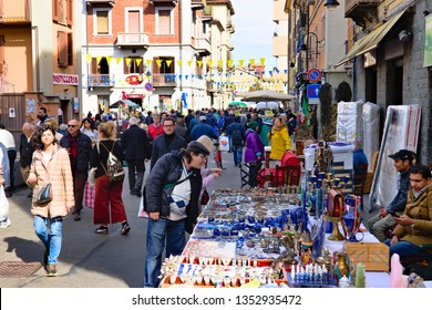 Turin, Italy - March 23, 2019: The Balon is an ancient traditional flea market in the Borgo Dora district in Turin, held each saturday and full of people and stalls of vintage and singular objects
