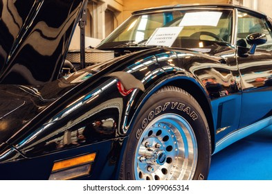 TURIN, ITALY - MARCH 25, 2018: black 1980 Chevrolet Corvette L-82 on a classic american car exhibition in Turin (Italy) on march 25, 2018