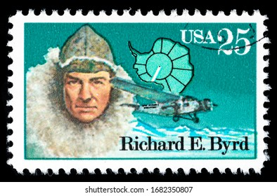 TURIN, ITALY - MARCH 25, 2020: A stamp printed in USA showing portrait of Richard E. Byrd, Antarctic Explorers Series, circa 1988