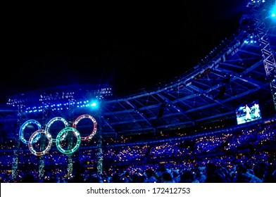 TURIN, ITALY - MARCH 28: The Olympic rings are illuminated during the Opening Cerimony of the Winter Olympic Games in Turin March 28, 2006.