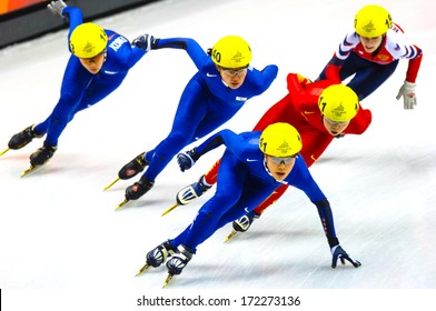 TURIN, ITALY - MARCH 29: athletes competing during a Short Track race during the Winter Olympic Games in Turin March, 29 2006.