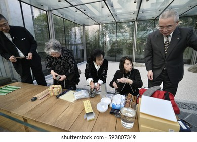 Turin, Italy- March 3, 2017: Preview release of the Exhibition Shodo, Japanese calligraphy contemporary masters at Mao in Turin, Italy
