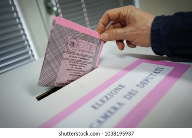 Turin, Italy - March 4, 2018: voting for Italian national parliamentary elections.