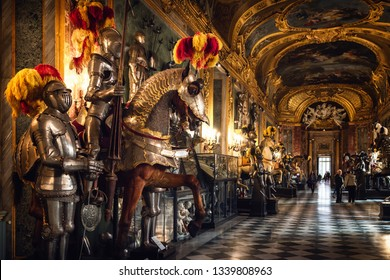 TURIN, ITALY - MARCH 7, 2019: A view of the Royal Armoury of Turin (Italy), national museum of ancient arms and armour, on march 7, 2019