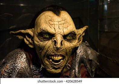 Turin, Italy, March 8 2013: reproduction of a Moria goblin orc from the Lord of the Rings movie exhibited inside the National Museum of Cinema
