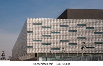 Turin, Italy - March 9, 2007: The ice-hockey arena designed by Arata Isozaki, that hosted opening and closing ceremonies of the 2006 Winter Olympics. Facades are covered with stainless steel.