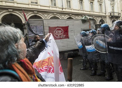 Turin, Italy - May 1, 2017: Clashes against the police and autonomous in the parade on May 1 in Turin, Italy