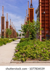 Turin, Italy, May 10, 2015. Parco Dora, a public park built on a former industrial area, preserving some structures of the old plants.