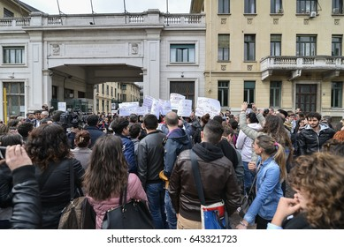 Turin, Italy - May 10, 2017: Protest of Nurses for the suspension of the national competition for recruitment in Italian hospitals at the Le Molinette Hospital in Turin, Italy