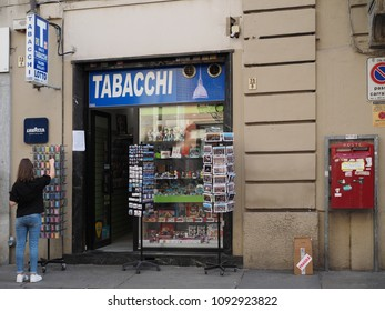 Turin, Italy - May 11, 2018. Tobacconist and mailbox in the historic center.