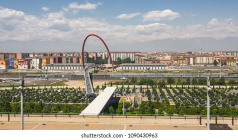 """Turin, Italy - May 12, 2007: From the roof of """"Lingotto"""", the Olympic Arch, built for the 2006 Winter Olympics."""
