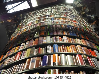 Turin, Italy - May 12, 2018. Turin International Book Fair. Round tower that exposes backs of books.