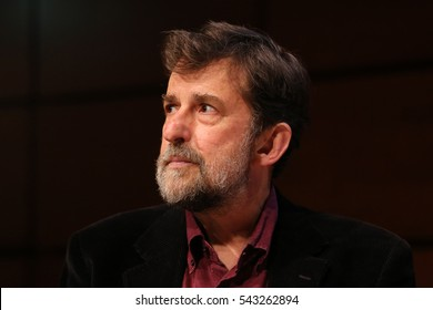 """Turin, Italy. May 15, 2016: Nanni Moretti at Book Fair read pages of """"Caro Michele"""" and """"Lessico Familiare"""" hundred years after the birth of Natalia Ginzburg"""