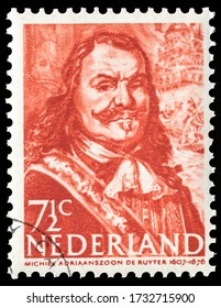 TURIN, ITALY - MAY 16, 2020: A stamp printed in NETHERLANDS showing portrait of Michiel Adriaanszoon de Ruyter, circa 1943