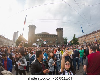 Turin, Italy. May 19, 2018. Juventus football fans celebrating in the streets championship victory