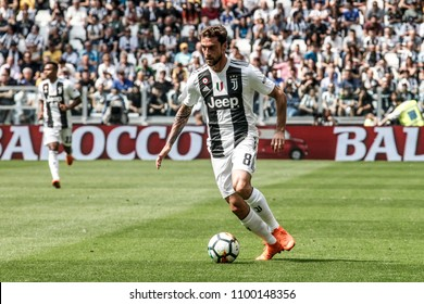 Turin, Italy. May 19, 2018. Allianz Juventus Stadium. Campionato Italiano di SerieA, Juventus-Hellas Verona 2-1. Claudio Marchisio, Juventus, with next season  jersey.