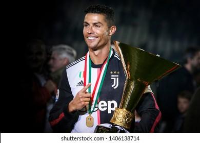Turin, Italy. May 19, 2019. Campionato Italiano Serie A, Juventus vs Atalanta 1-1. Cristiano Ronaldo celebrating the first championship won with Juventus, 8th in a row for the Italian team.