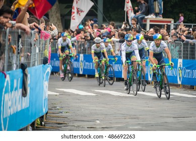 Turin, Italy May 29, 2016; Group of professional cyclists accelerate for the final lap of the street circuit in Turin, the last stage of the Tour of Italy in 2016.