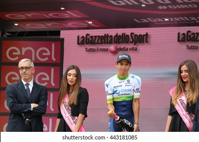 TURIN, ITALY - MAY 29: Cyclist Johan Esteban Chaves Rubio, Team Orica, stands on the podium after the 21th stage of Giro D'Italia 2016 on May 29, Giro D'Italia in Turin, Italy.